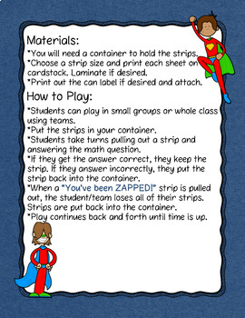 Subtracting Mixed Numbers and Whole Numbers Don't Get ZAPPED Math Game