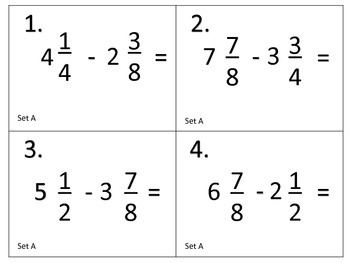 Subtract Mixed Numbers With Unlike Denominators--Task Cards