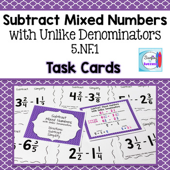 Subtract Mixed Numbers with Unlike Denominators Then Simplify Task Cards