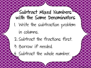 Subtract Mixed Numbers with the Same Denominator Then Simplify