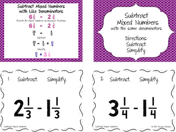 Subtract Mixed Numbers with the Same Denominator Then Simplify Task Cards