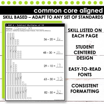 Subtract Multiples of Ten - First Grade Print and Go