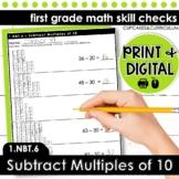 Subtract Multiples of Ten   First Grade Math 1.NBT.6