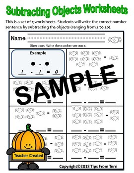 Subtract Objects | Halloween Themed Subtraction Worksheet ( 1 - 10 Objects)