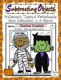 Subtract Objects | Halloween Themed Subtraction Worksheet