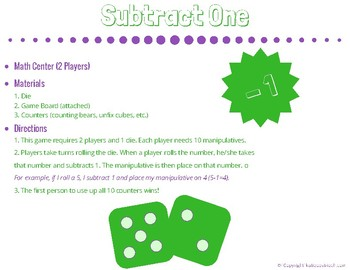 Subtract One (Math Game or Center)