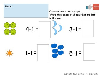 Subtract One Worksheet Pack