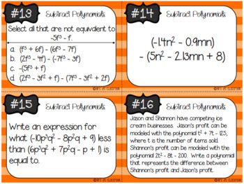 Subtract Polynomials Task Cards
