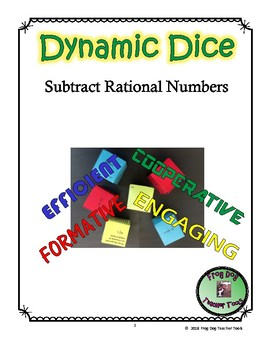 Subtract Rational Numbers Dynamic Dice