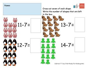 Subtract Seven Worksheet Pack