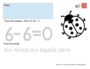 Subtract Six Worksheet Pack