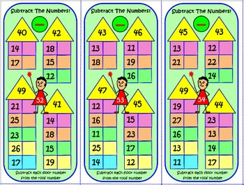 Subtraction Of Numbers (1 to 50): 60 Long Task Cards: Test Quiz Prep Worksheets