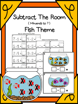 Subtract  (Minuends To 7) Fish