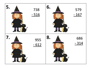 Subtract Three Digit Numbers---with & without borrowing--Halloween Theme Center