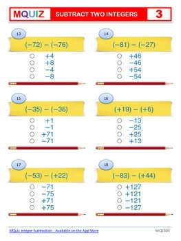 Subtract Two Integers - Multiple Choices