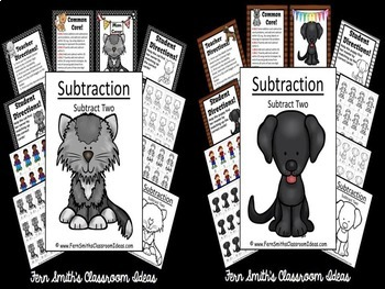 Subtraction Center Game A Quick and Easy to Prep Center Subtract Two Bundle