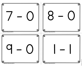 Subtraction Facts War 0 to 9
