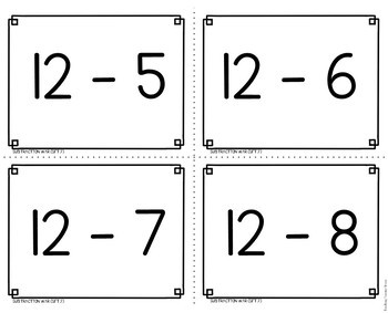 Subtraction War Facts 10 to 14