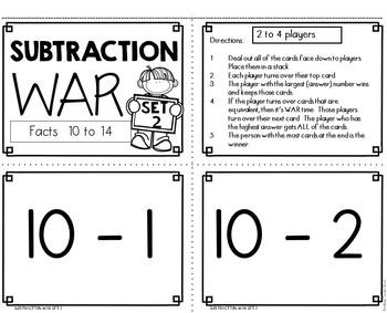 Subtraction Fact Activities