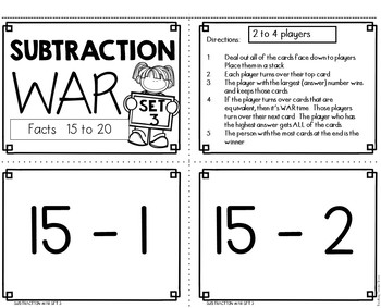 Subtraction Fact Practice Game