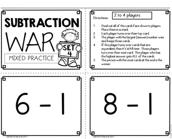 Subtraction War Facts Mixed Practice