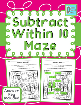 Subtract Within 10 Maze