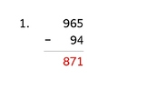 Subtract a 3-digit number from a 2-digit number (1-page qu
