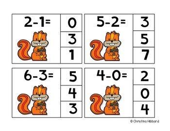 Subtract and Clip Task Cards (Fall)