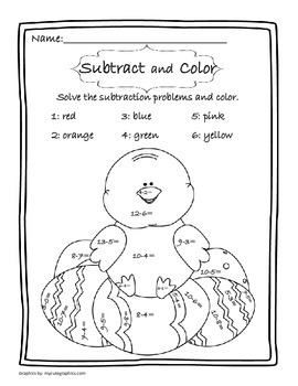 Subtract and Color Easter Chick - FREEBEE
