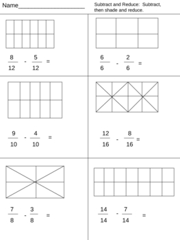 Subtract and Reduce Fractions