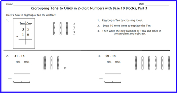 Subtraction, Place Value, and Base 10 Blocks:  Regrouping 2-digit Numbers