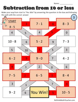 Subtract from 10 or less - Maze Worksheets