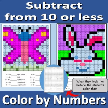 Subtract from 10 or less - color by numbers
