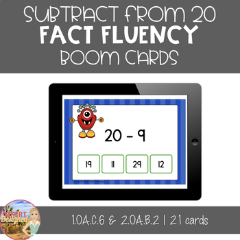 Subtract from 20 Fact Fluency - Boom Cards