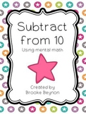Subtract from Ten {Freebie}