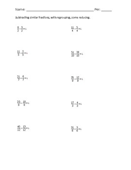 Subtract similar fractions with regrouping worksheet