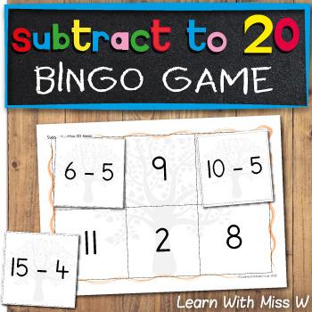 Math game: subtract within 20 bingo