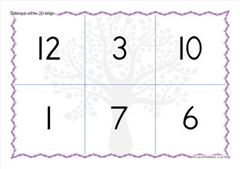 Subtraction within 20 bingo game
