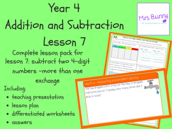 Subtract 4d numbers-more than 1 exchange lesson (Year 4 Addition & Subtraction)