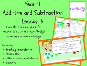 Subtract two 4d numbers-one exchange lesson (Year 4 Addition and Subtraction)
