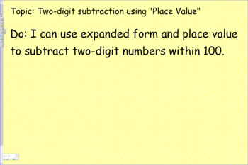Subtract two-digit numbers within 100.