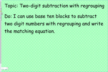 Subtract two digit numbers without regrouping