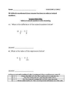 Subtract with Renaming Fractions Exit Slip