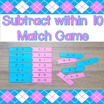 Subtract within 10 Match Game