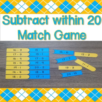 Subtract within 20 Match Game