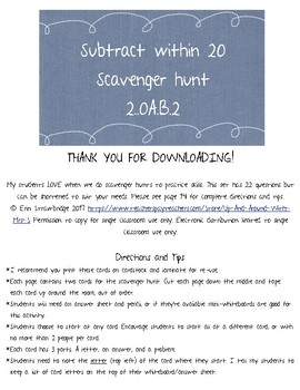 Subtract within 20 Scavenger Hunt