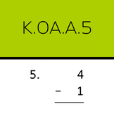 K.OA.A.5: Subtract within 5 (50 worksheets)