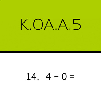 K.OA.A.5: Subtract within 5 (50 worksheets, horizontal problems)