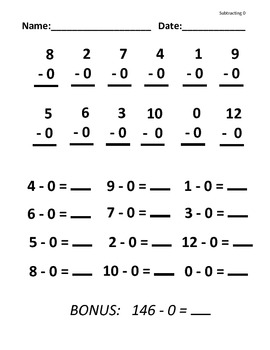 Subtracting 0