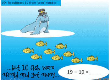 Subtracting 10 from teen number powerpoint